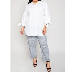 Tops - White Tie Cuff Shirt Plus Size | Coming_Soon